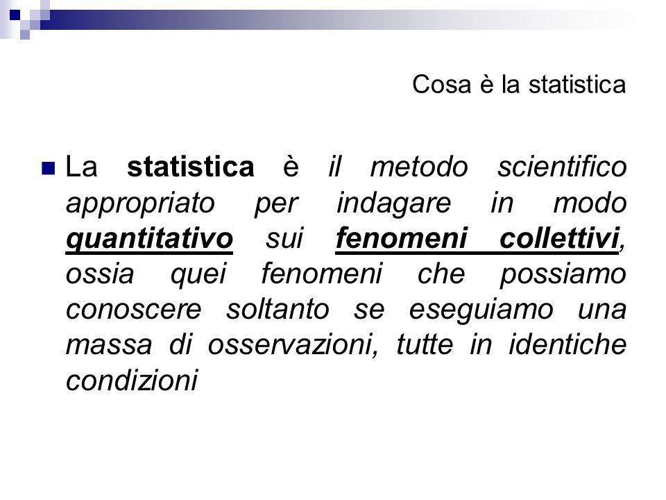 Cosa è la statistica La statistica è il metodo scientifico appropriato per indagare in modo quantitativo sui fenomeni collettivi, ossia quei fenomeni