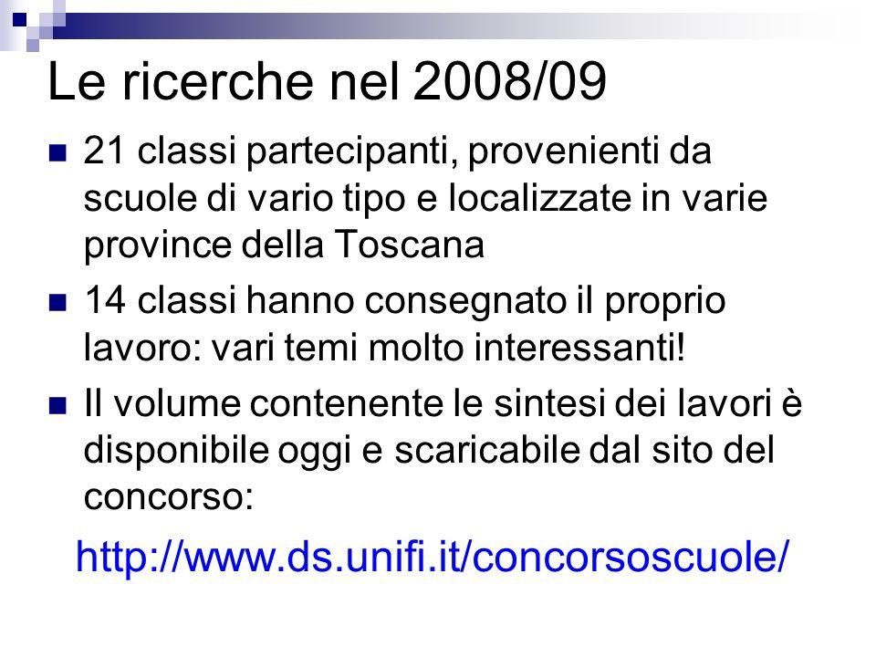 Le ricerche nel 2008/09 21 classi partecipanti, provenienti da scuole di vario tipo e localizzate in varie province della Toscana 14 classi hanno cons