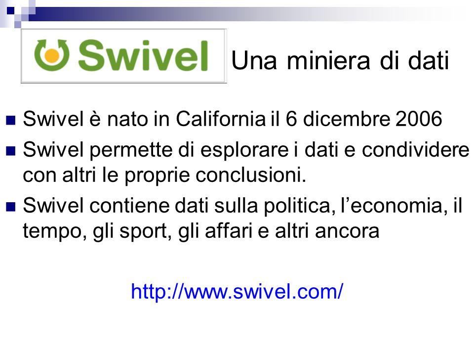 Una miniera di dati Swivel è nato in California il 6 dicembre 2006 Swivel permette di esplorare i dati e condividere con altri le proprie conclusioni.