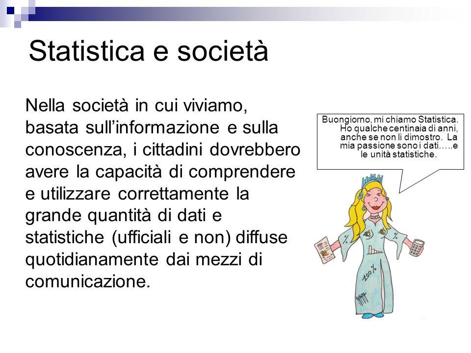 Statistica e società Buongiorno, mi chiamo Statistica. Ho qualche centinaia di anni, anche se non li dimostro. La mia passione sono i dati…..e le unit