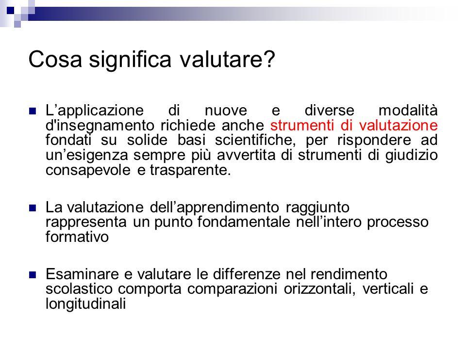 Cosa significa valutare? Lapplicazione di nuove e diverse modalità d'insegnamento richiede anche strumenti di valutazione fondati su solide basi scien