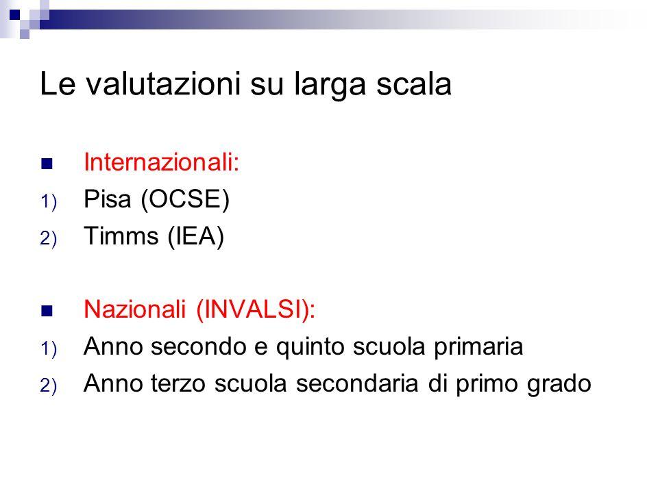Le valutazioni su larga scala Internazionali: 1) Pisa (OCSE) 2) Timms (IEA) Nazionali (INVALSI): 1) Anno secondo e quinto scuola primaria 2) Anno terz