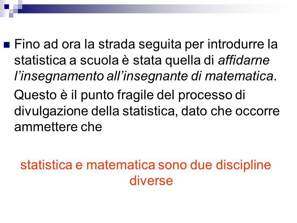 Fino ad ora la strada seguita per introdurre la statistica a scuola è stata quella di affidarne linsegnamento allinsegnante di matematica. Questo è il