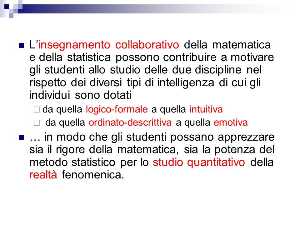 Linsegnamento collaborativo della matematica e della statistica possono contribuire a motivare gli studenti allo studio delle due discipline nel rispe