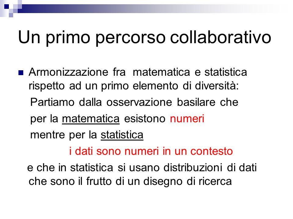 Un primo percorso collaborativo Armonizzazione fra matematica e statistica rispetto ad un primo elemento di diversità: Partiamo dalla osservazione bas