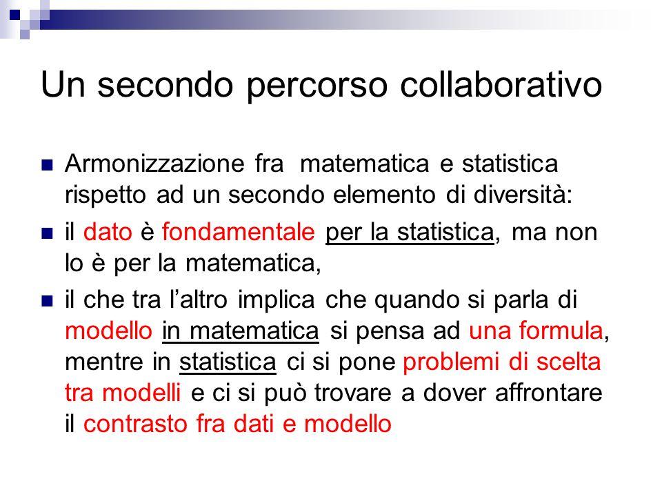 Un secondo percorso collaborativo Armonizzazione fra matematica e statistica rispetto ad un secondo elemento di diversità: il dato è fondamentale per