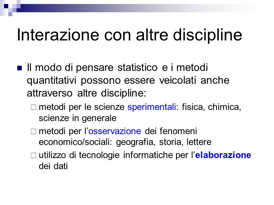 Interazione con altre discipline Il modo di pensare statistico e i metodi quantitativi possono essere veicolati anche attraverso altre discipline: met