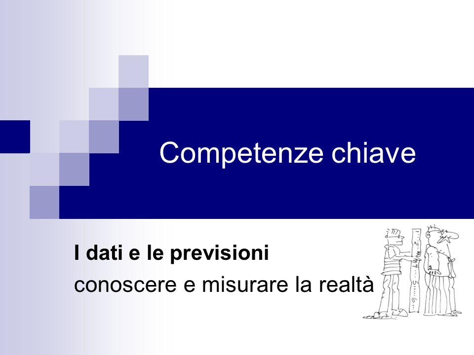 Competenze chiave I dati e le previsioni conoscere e misurare la realtà