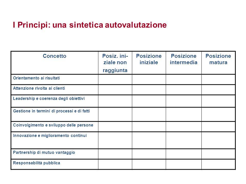 I Principi: una sintetica autovalutazione ConcettoPosiz. ini- ziale non raggiunta Posizione iniziale Posizione intermedia Posizione matura Orientament