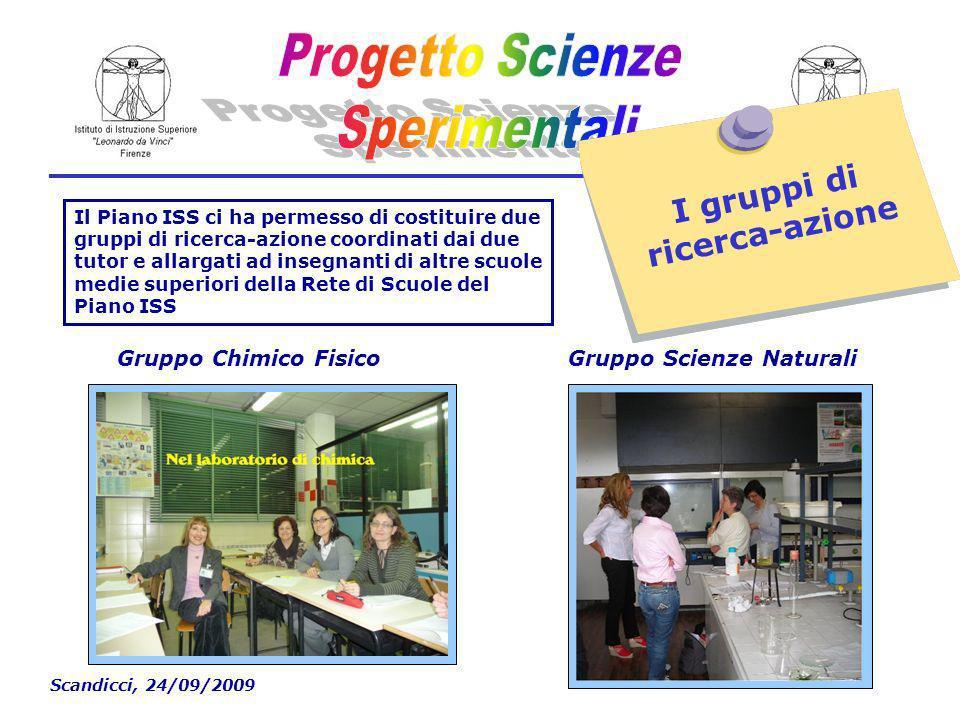 Scandicci, 24/09/2009 I gruppi di ricerca-azione Il Piano ISS ci ha permesso di costituire due gruppi di ricerca-azione coordinati dai due tutor e allargati ad insegnanti di altre scuole medie superiori della Rete di Scuole del Piano ISS Gruppo Chimico FisicoGruppo Scienze Naturali