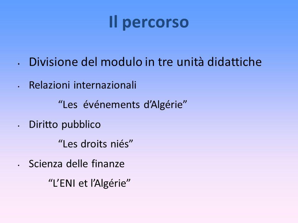 Il percorso Divisione del modulo in tre unità didattiche Relazioni internazionali Les événements dAlgérie Diritto pubblico Les droits niés Scienza delle finanze LENI et lAlgérie