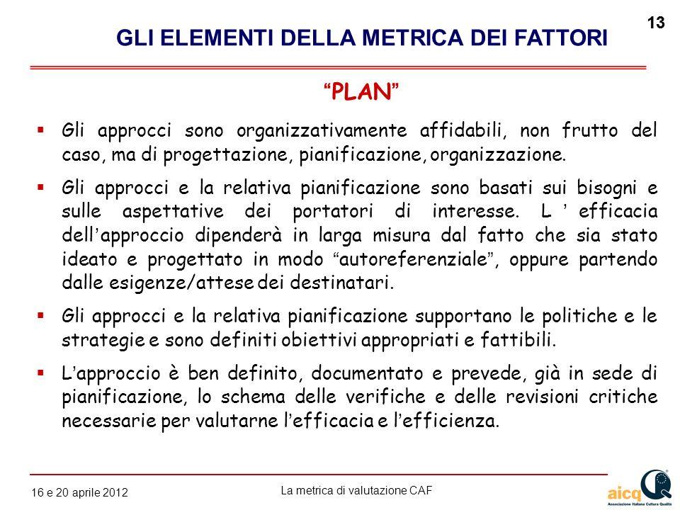 La metrica di valutazione CAF 12 gennaio 2010 13 16 e 20 aprile 2012 13 Gli approcci sono organizzativamente affidabili, non frutto del caso, ma di pr