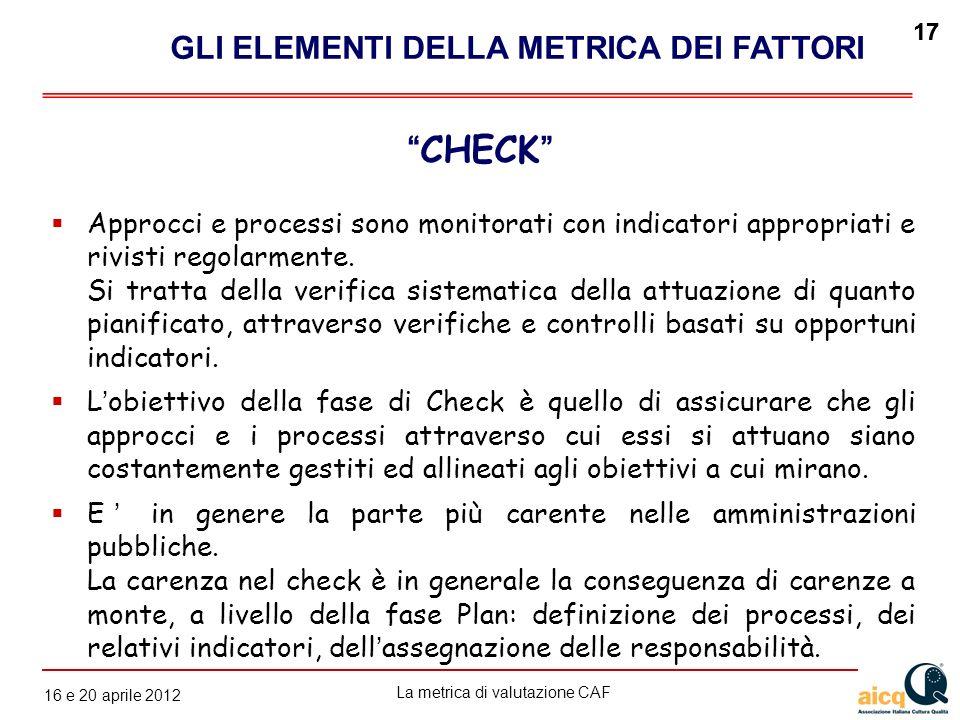 La metrica di valutazione CAF 12 gennaio 2010 17 16 e 20 aprile 2012 17 Approcci e processi sono monitorati con indicatori appropriati e rivisti regol