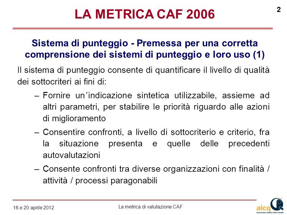 La metrica di valutazione CAF 12 gennaio 2010 2 16 e 20 aprile 2012 2 Il sistema di punteggio consente di quantificare il livello di qualità dei sotto
