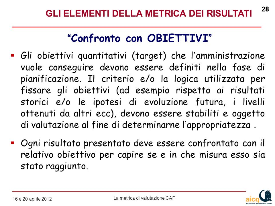La metrica di valutazione CAF 12 gennaio 2010 28 16 e 20 aprile 2012 28 Gli obiettivi quantitativi (target) che lamministrazione vuole conseguire devo