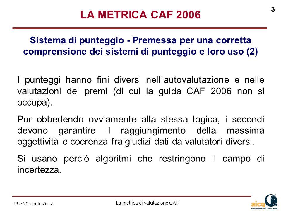La metrica di valutazione CAF 12 gennaio 2010 3 16 e 20 aprile 2012 3 LA METRICA CAF 2006 Sistema di punteggio - Premessa per una corretta comprension