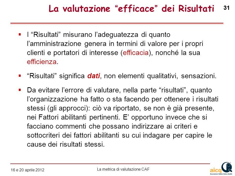 La metrica di valutazione CAF 12 gennaio 2010 31 16 e 20 aprile 2012 31 I Risultati misurano ladeguatezza di quanto lamministrazione genera in termini