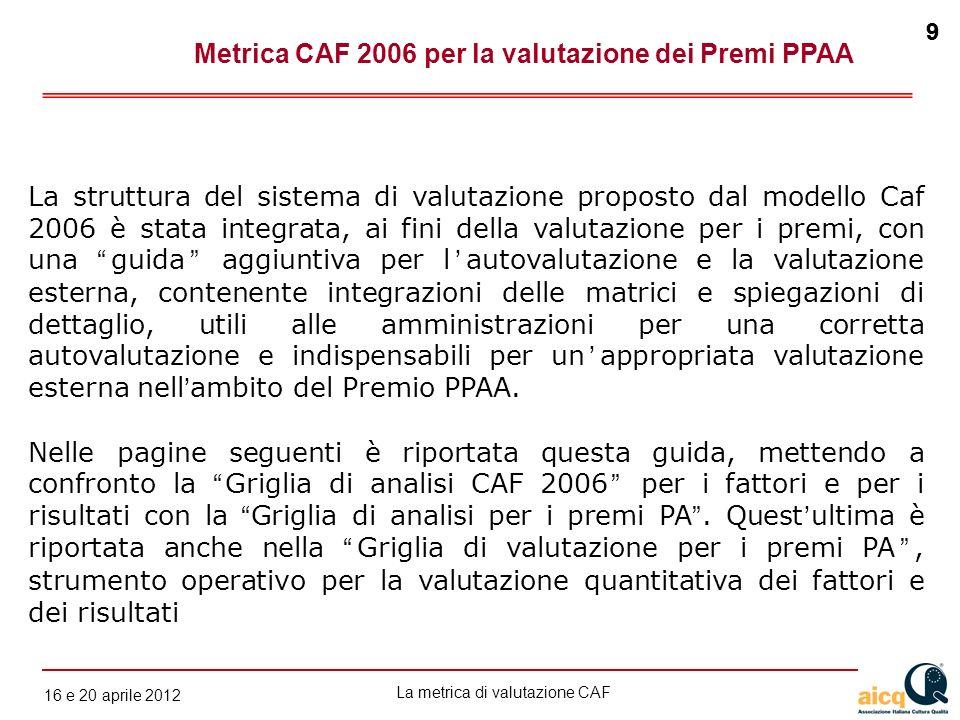 La metrica di valutazione CAF 12 gennaio 2010 9 16 e 20 aprile 2012 9 Metrica CAF 2006 per la valutazione dei Premi PPAA La struttura del sistema di v