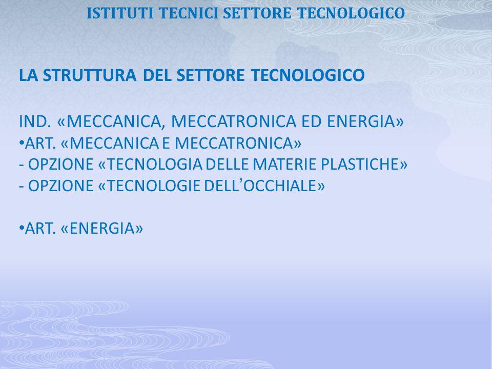 LA STRUTTURA DEL SETTORE TECNOLOGICO IND. «MECCANICA, MECCATRONICA ED ENERGIA» ART. «MECCANICA E MECCATRONICA» - OPZIONE «TECNOLOGIA DELLE MATERIE PLA
