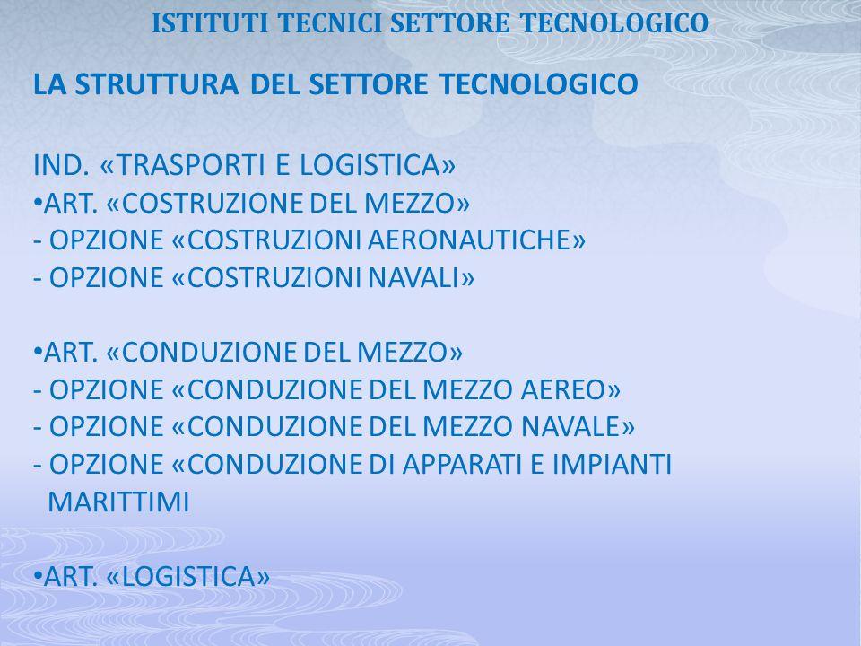 LA STRUTTURA DEL SETTORE TECNOLOGICO IND. «TRASPORTI E LOGISTICA» ART. «COSTRUZIONE DEL MEZZO» - OPZIONE «COSTRUZIONI AERONAUTICHE» - OPZIONE «COSTRUZ