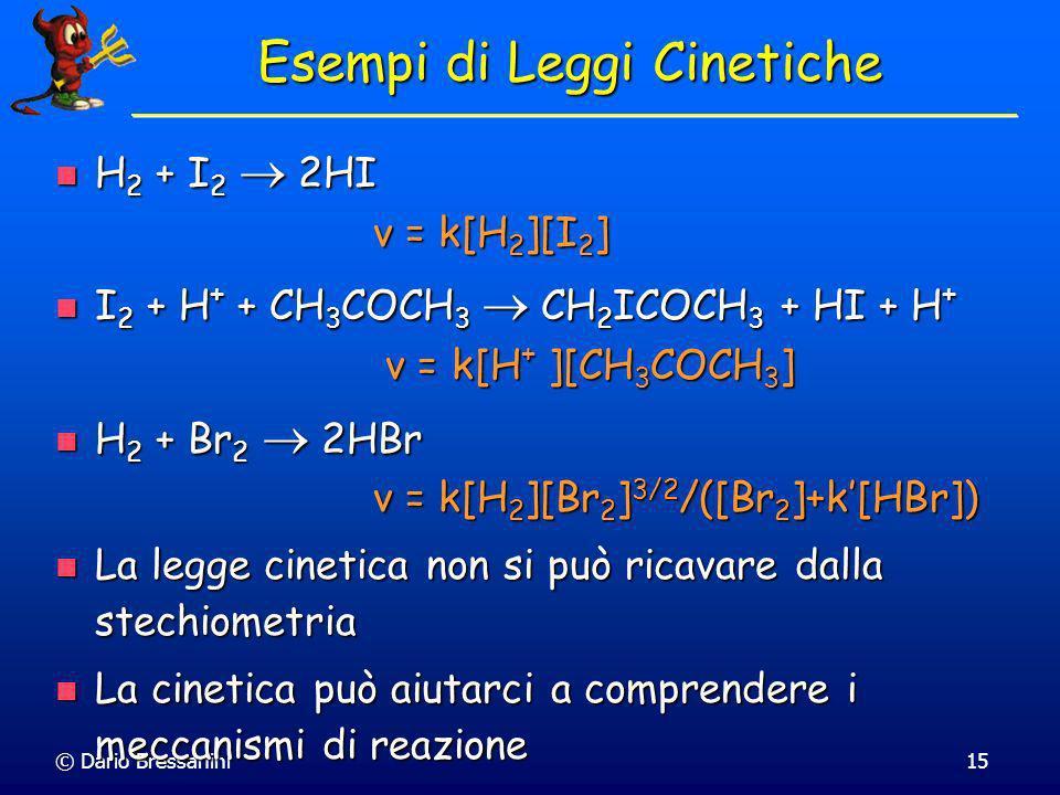 © Dario Bressanini14 Legge Cinetica Si osserva empiricamente che la velocità è spesso (ma non sempre) espressa attraverso una legge cinetica semplice