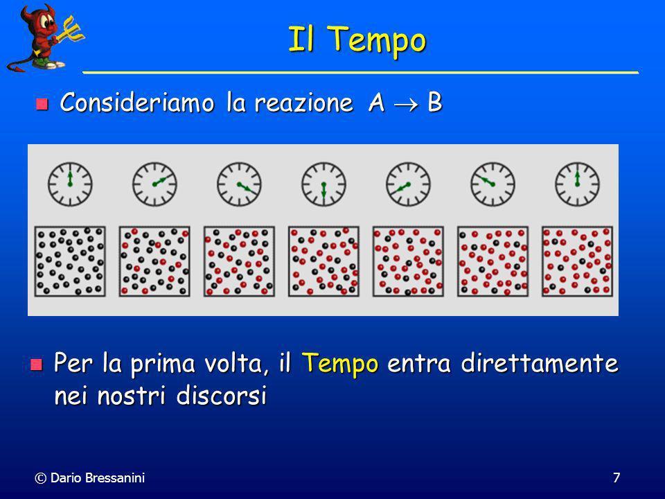 © Dario Bressanini7 Il Tempo Consideriamo la reazione A B Consideriamo la reazione A B Per la prima volta, il Tempo entra direttamente nei nostri discorsi Per la prima volta, il Tempo entra direttamente nei nostri discorsi