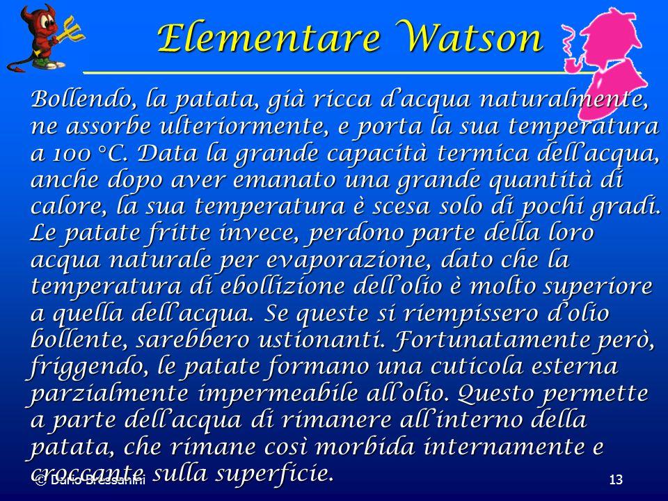 © Dario Bressanini13 Elementare Watson Bollendo, la patata, già ricca dacqua naturalmente, ne assorbe ulteriormente, e porta la sua temperatura a 100