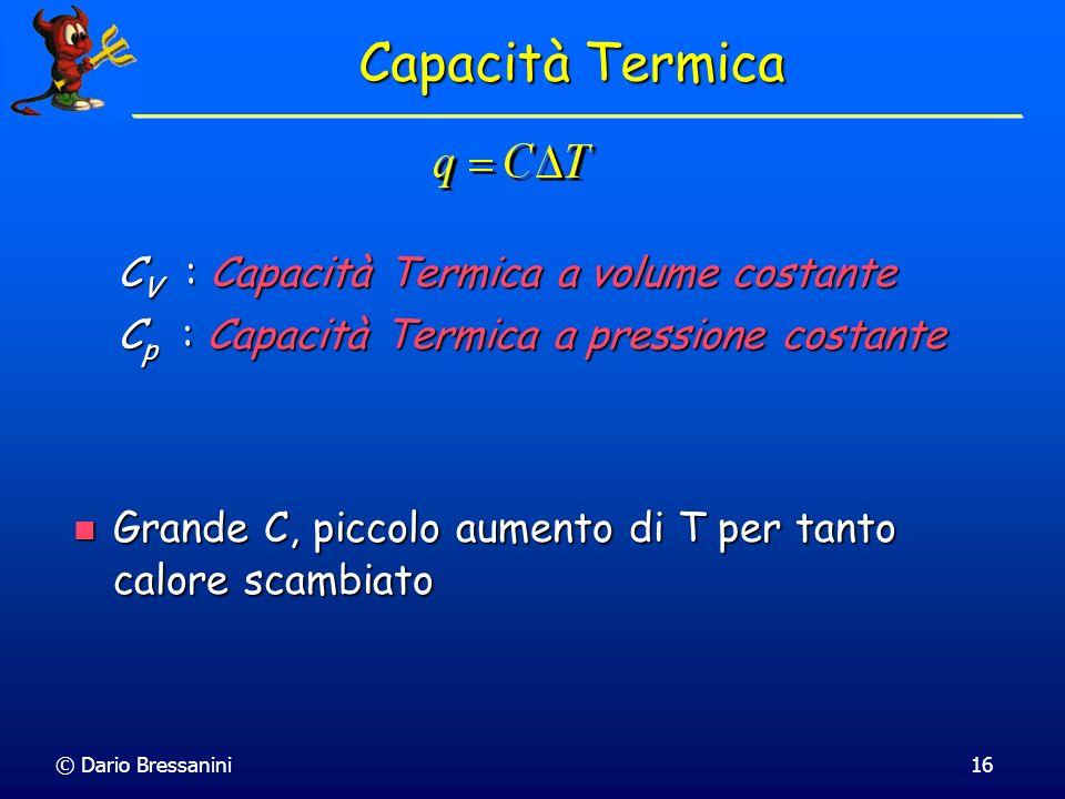 © Dario Bressanini16 Capacità Termica C V : Capacità Termica a volume costante C p : Capacità Termica a pressione costante Grande C, piccolo aumento d