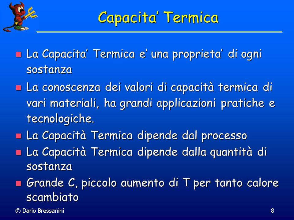 © Dario Bressanini8 Capacita Termica La Capacita Termica e una proprieta di ogni sostanza La Capacita Termica e una proprieta di ogni sostanza La cono