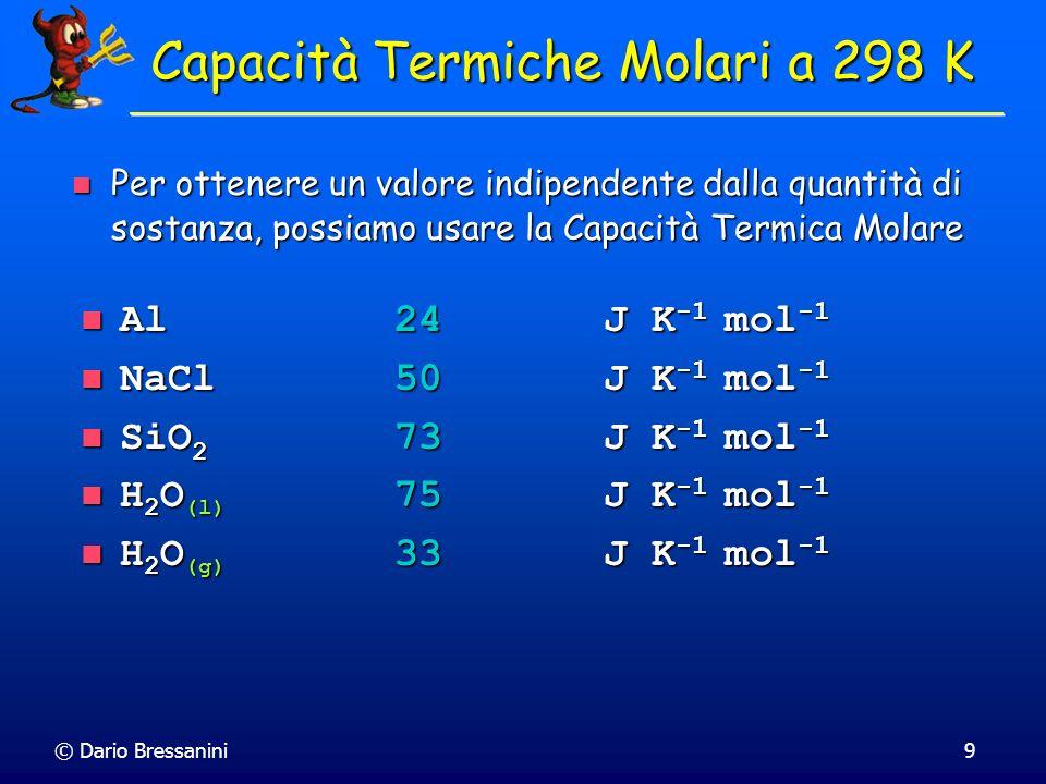 © Dario Bressanini9 Capacità Termiche Molari a 298 K Al24 J K -1 mol -1 Al24 J K -1 mol -1 NaCl50J K -1 mol -1 NaCl50J K -1 mol -1 SiO 2 73J K -1 mol