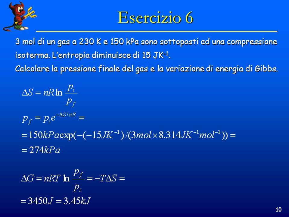 10 Esercizio 6 3 mol di un gas a 230 K e 150 kPa sono sottoposti ad una compressione isoterma. Lentropia diminuisce di 15 JK -1. Calcolare la pression