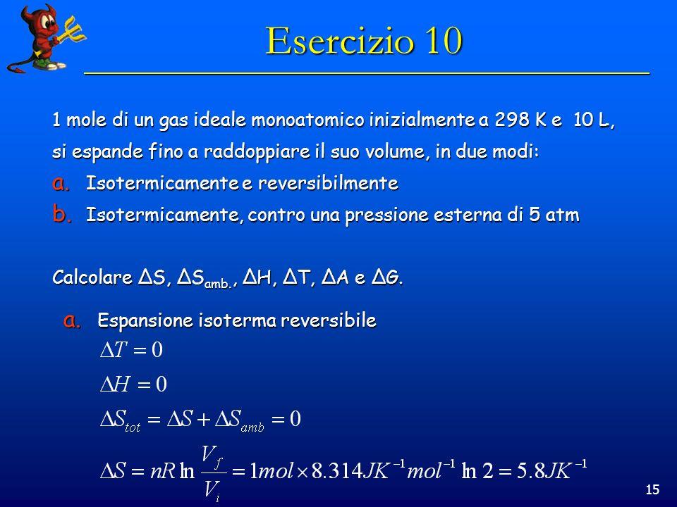 15 Esercizio 10 1 mole di un gas ideale monoatomico inizialmente a 298 K e 10 L, si espande fino a raddoppiare il suo volume, in due modi: a. Isotermi