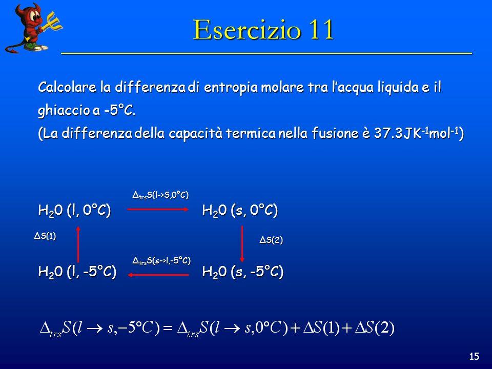 15 Esercizio 11 Calcolare la differenza di entropia molare tra lacqua liquida e il ghiaccio a -5°C.