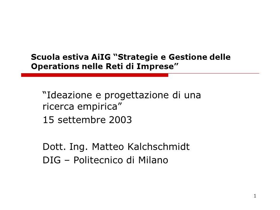 1 Scuola estiva AiIG Strategie e Gestione delle Operations nelle Reti di Imprese Ideazione e progettazione di una ricerca empirica 15 settembre 2003 Dott.