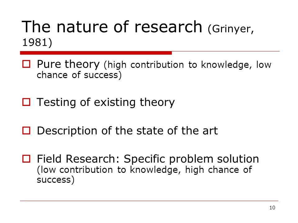 10 The nature of research (Grinyer, 1981) Pure theory (high contribution to knowledge, low chance of success) Testing of existing theory Description o