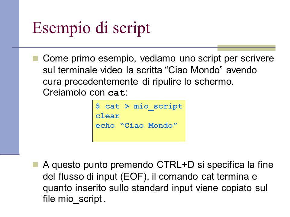 Esempio di script Come primo esempio, vediamo uno script per scrivere sul terminale video la scritta Ciao Mondo avendo cura precedentemente di ripulir