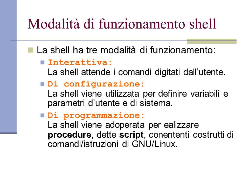 Modalità di funzionamento shell La shell ha tre modalità di funzionamento: Interattiva: La shell attende i comandi digitati dallutente. Di configurazi