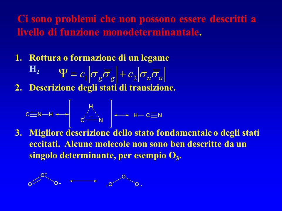 Atomo di Li UHF = 1s 1s 2s ROHF = 1s 1s 2s 1 2 3 RHF Singoletto ROHF Doppietto UHF Doppietto Energia