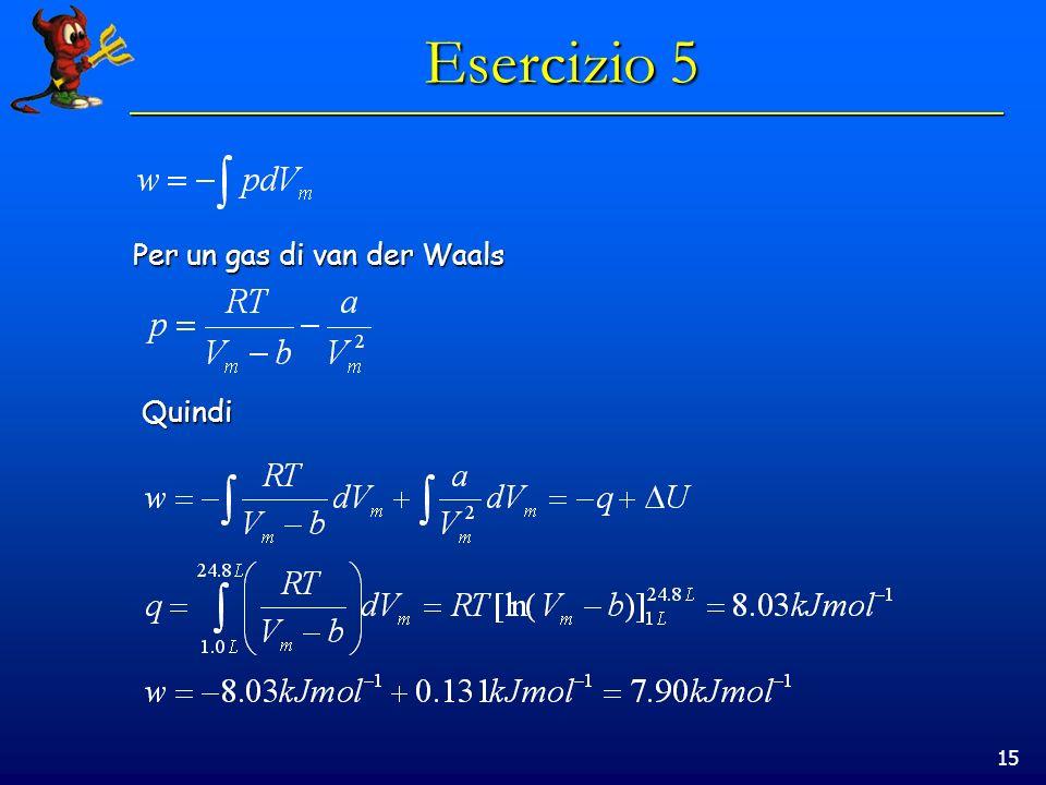 15 Esercizio 5 Per un gas di van der Waals Quindi