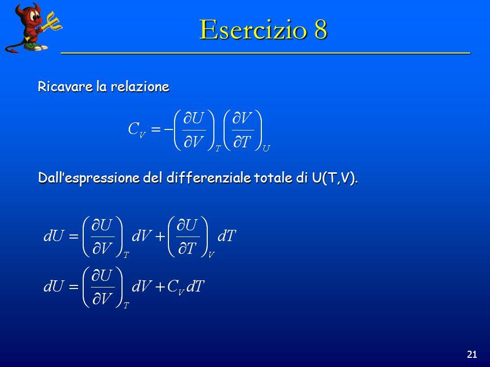 21 Esercizio 8 Ricavare la relazione Dallespressione del differenziale totale di U(T,V).