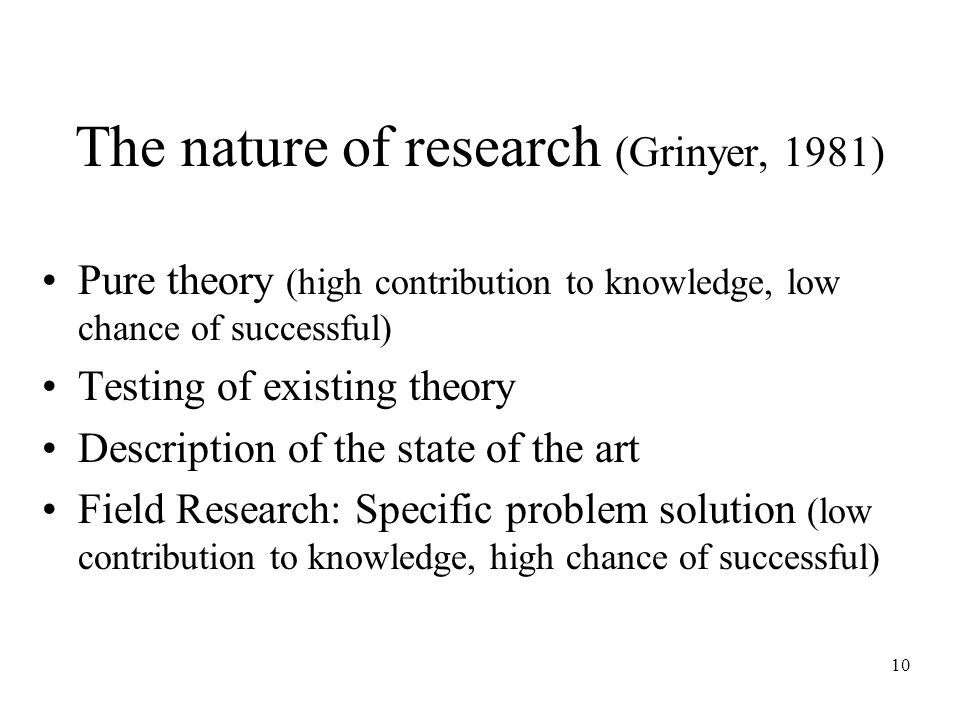 10 The nature of research (Grinyer, 1981) Pure theory (high contribution to knowledge, low chance of successful) Testing of existing theory Description of the state of the art Field Research: Specific problem solution (low contribution to knowledge, high chance of successful)