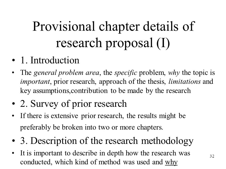 32 Provisional chapter details of research proposal (I) 1.
