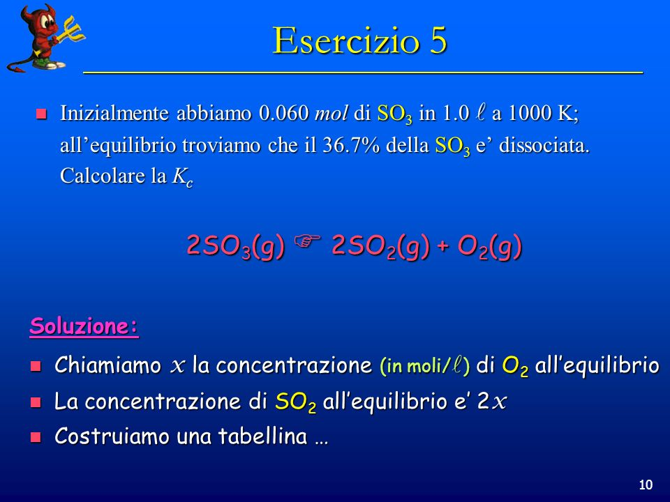10 Inizialmente abbiamo 0.060 mol di SO 3 in 1.0 a 1000 K; allequilibrio troviamo che il 36.7% della SO 3 e dissociata.
