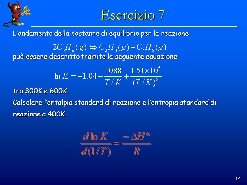14 Esercizio 7 Landamento della costante di equilibrio per la reazione può essere descritto tramite la seguente equazione tra 300K e 600K.