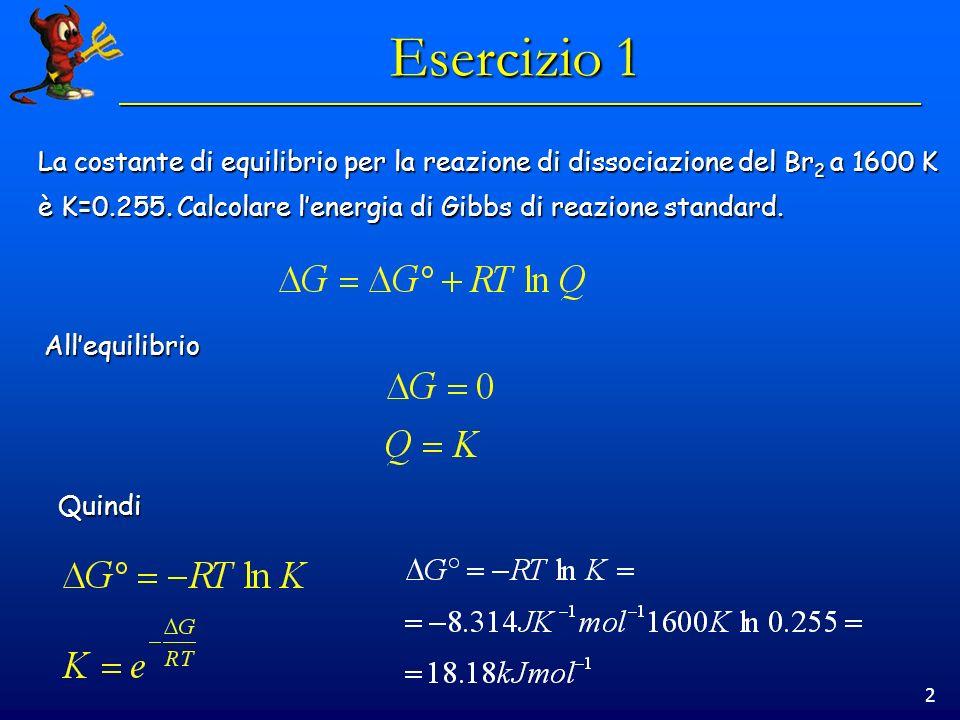 2 Esercizio 1 La costante di equilibrio per la reazione di dissociazione del Br 2 a 1600 K è K=0.255.