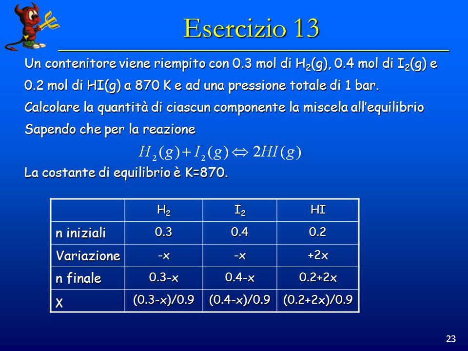 23 Esercizio 13 Un contenitore viene riempito con 0.3 mol di H 2 (g), 0.4 mol di I 2 (g) e 0.2 mol di HI(g) a 870 K e ad una pressione totale di 1 bar.