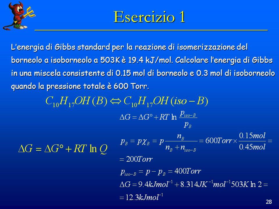 28 Esercizio 1 Lenergia di Gibbs standard per la reazione di isomerizzazione del borneolo a isoborneolo a 503K è 19.4 kJ/mol.