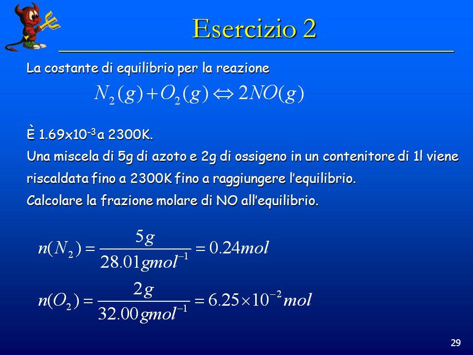 29 Esercizio 2 La costante di equilibrio per la reazione È 1.69x10 -3 a 2300K.