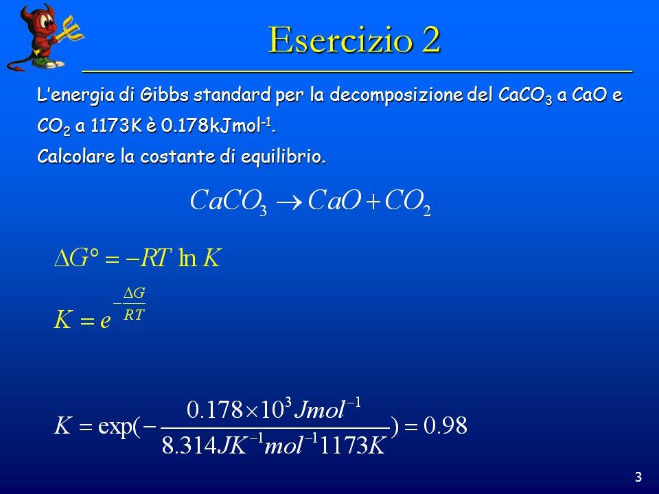 3 Esercizio 2 Lenergia di Gibbs standard per la decomposizione del CaCO 3 a CaO e CO 2 a 1173K è 0.178kJmol -1.