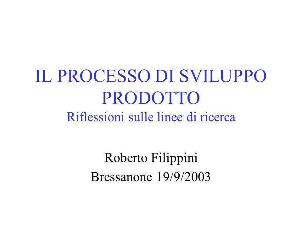IL PROCESSO DI SVILUPPO PRODOTTO Riflessioni sulle linee di ricerca Roberto Filippini Bressanone 19/9/2003